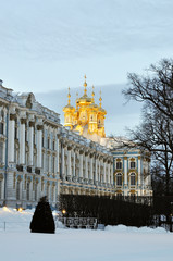 Catherine palace in Pushkin in winter time, Russia