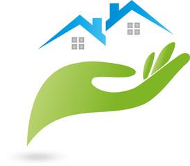 Immobilien, Haus, Dach, Hand
