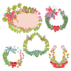 Stylish Vintage floral frame,label set