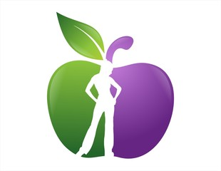 apple logo woman silhouette beauty health icon symbol