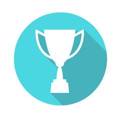 Trophy cup vector icon, flat design. Concept-winning, victory,