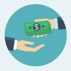 Hand giving money to other hand flat design vector illustration