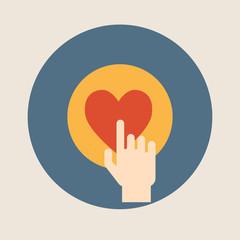 Hand pressing like ( heart ) button flat design vector