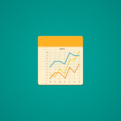 Notebook Icon with line graph. Illustration