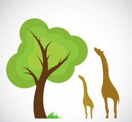 Vector image of trees and giraffes
