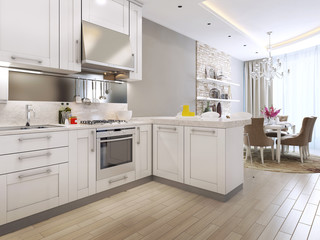 kitchen diner in the neoclassical style