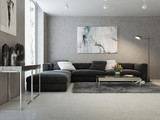 Modern interior of living room poster