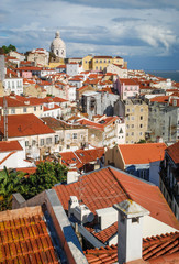 Beautiful view on historic part of Lisboa city, Portugal