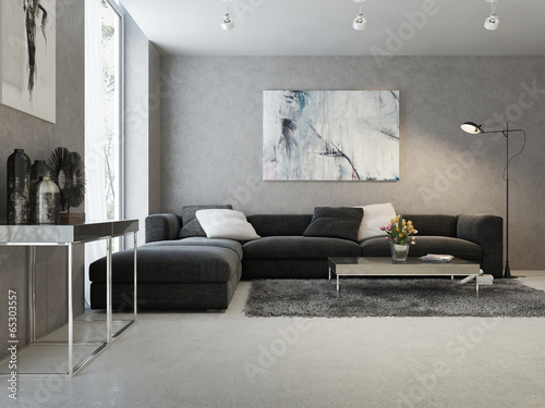 Modern interior of living room - 65303557