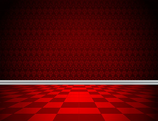 Red tiled floor, royal red wallpaper and decorative molding