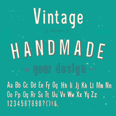 vintage handmade style alphabet, vector illustration