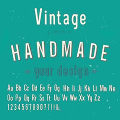 vintage handmade style alphabet, vector illustration