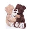 Familie Teddybär mit zwei Kindern isoliert auf weiß