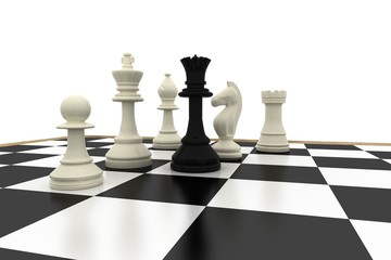 Black queen standing with white chess pieces