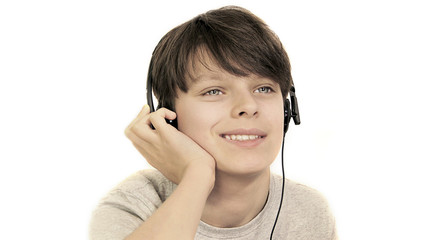 Smiling Teenager listening to music