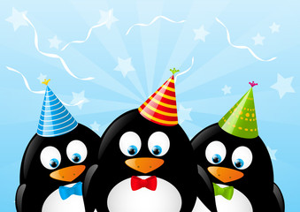 Cute penguins with party hats