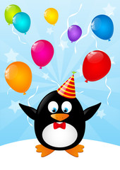Funny penguin with color balloons