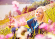 blond girl sitting in a - meadow 01