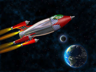 Retro rocket in space