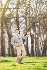 Senior gentleman dancing out of joy in the park