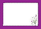 Fototapety purple scalloped border with flowers