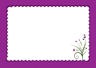purple scalloped border with flowers