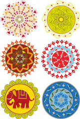 Set of colored Indian mandalas and patterns
