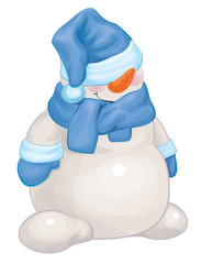 Vector  funny snowman cartoon.