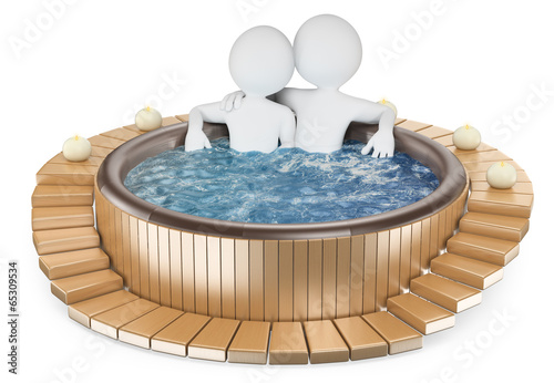 3D white people. Couple relaxing in a hot tub