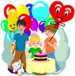 Little pretty girl with birthday cake