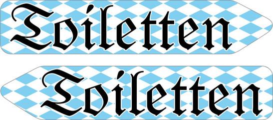 Pfeil Schildervorlage Toiletten bayerisch
