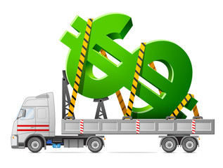 Transportation of dollar symbol. Sign of money in back of truck