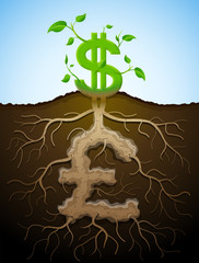 Growing dollar sign like plant with leaves and pound like root