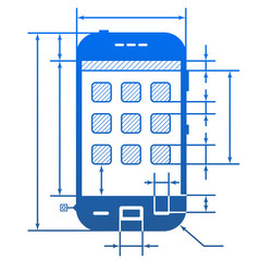 Smartphone symbol with dimension lines for blueprint drawing
