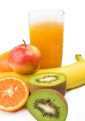 Orange juice with fruit banana, apple, kiwi