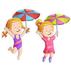 Cute cartoon girls with umbrella and swimsuit
