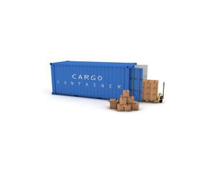 container blu con pacchi e tranpallet 2