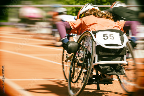 Fototapeta wheelchair race motion blur