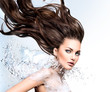 Model girl with water splash collar and long blowing hair