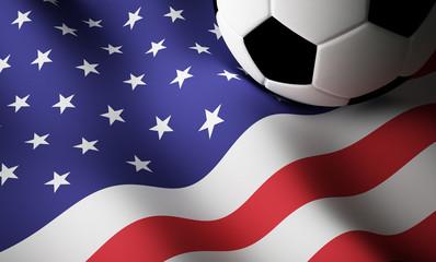 American flag, football