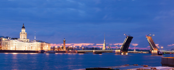 View of the drawn bridge in the city of St. Petersburg