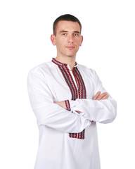 gay in Ukrainian embroidered shirt