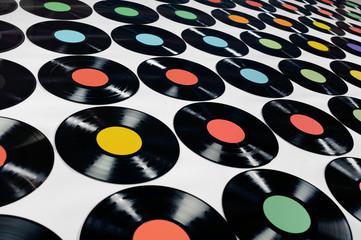 Music - Vinyl records,colorful collection, editable.