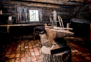 Farrier tools in ancient smithy