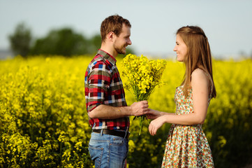 Love for two on a fine spring meadow