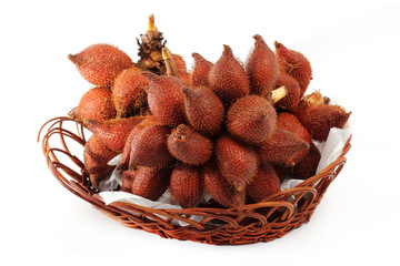 Salacca or zalacca tropical fruit in basket