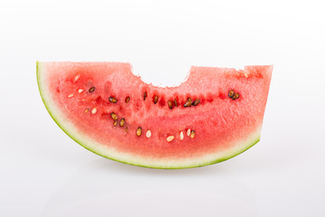 red juicy ripe watermelon bitten off