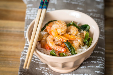 delicious asian fried shrimp and rice