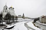 River view on Pskov Kremlin, Krom in winter time poster