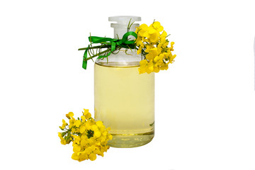 glass bottle of rape seed oil with rape flowers